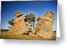 Split Rocks With Woman Greeting Card