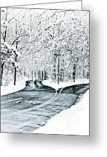 Split Snowy Road Greeting Card