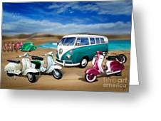 Splitty Vw Beetle And Scooters Greeting Card
