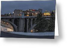 Spokane Cityscape Greeting Card by Michael Gass