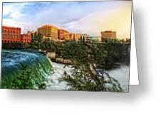 Spokane Falls City Skyline Greeting Card by Dan Quam