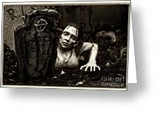 Zombie Lady Sepia Greeting Card