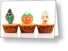 Spooks Cup Cakes On White Background Greeting Card