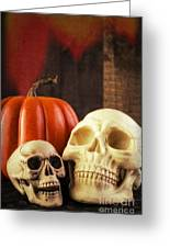 Spooky Halloween Skulls Greeting Card by Edward Fielding