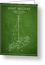 Sport Sailboat Patent From 1977 - Green Greeting Card