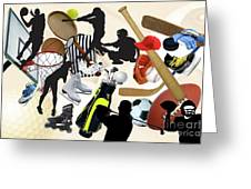 Sports Sports Sports Greeting Card by Susan  Lipschutz