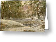 Sportsmen In A Winter Forest Greeting Card