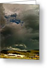Spot Light On Grey Clouds Greeting Card
