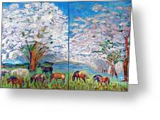 Spring And Horses Greeting Card by Vicky Tarcau