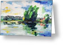 Spring At River Elbe Near Doemitz Germany Greeting Card