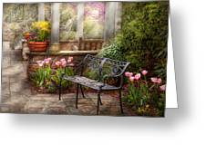 Spring - Bench - A Place To Retire  Greeting Card by Mike Savad