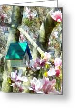 Spring - Birdhouse In Magnolia Greeting Card