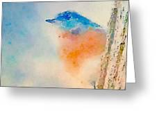 Spring Blues - Digital Watercolor Greeting Card