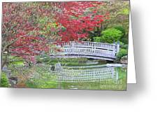 Spring Color Over Japanese Garden Bridge Greeting Card