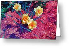 Spring Daffodils On Red - Horizontal Greeting Card