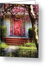 Spring - Door - Westfield Nj - Pink Greeting Card by Mike Savad