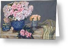 Spring In A Blue Vase Greeting Card