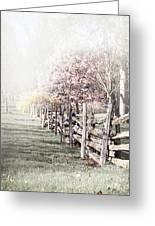 Spring Landscape With Fence Greeting Card