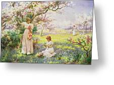 Spring   Picking Flowers Greeting Card
