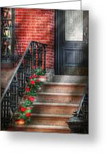 Spring - Porch - Hoboken Nj - Geraniums On Stairs Greeting Card