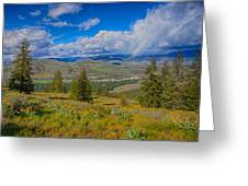 Spring Rain Across A Valley Greeting Card