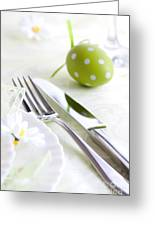 Spring Table Setting Greeting Card by Mythja  Photography