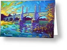 Springfield Memorial Bridge Greeting Card by Caleb Colon