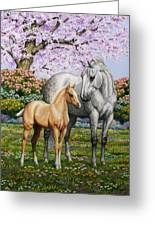 Spring's Gift - Mare And Foal Greeting Card by Crista Forest