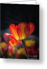 Springtime Tulips Digital Painting Greeting Card