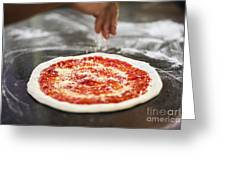 Sprinkling Cheese On Home Made Pizza Greeting Card