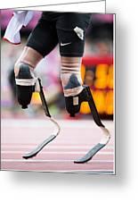 Sprinter At Start Of Paralympics 100m Greeting Card