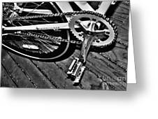 Sprocket And Chain - Black And White Greeting Card