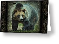 Sq Grizz 6k X 6k Grn Gold Wd2 Greeting Card