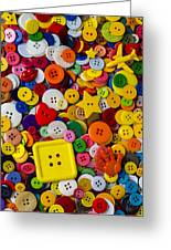 Square Button Greeting Card by Garry Gay