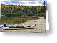 Squareback Canoe With Engine Greeting Card