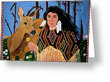 Squaw With Deer Greeting Card