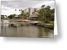 Squid Lips Restaurant  At The Eau Gallie Causeway Over The India Greeting Card