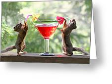 Squirrels At Cocktail Hour Greeting Card
