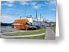 Ss Klondike Sternwheeler From Stern On The Yukon River In Whitehorse-yk Greeting Card