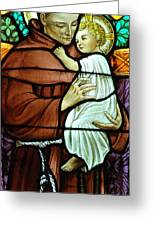 St Anthony In Stained Glass Greeting Card