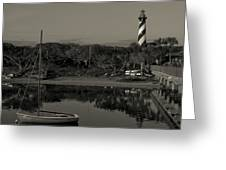 St. Augustine Lighthouse Beach Early Morning Monochrome Greeting Card