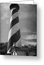 St Augustine Lighthouse Bw Greeting Card