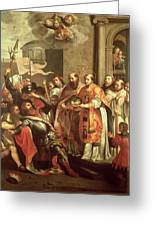 St. Bernard Of Clairvaux 1090-1153 And William X 1099-1137 Duke Of Aquitaine Oil On Canvas Greeting Card