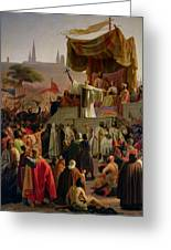 St Bernard Preaching The Second Crusade In Vezelay Greeting Card