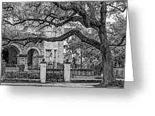 St. Charles Ave. Mansion 2 Bw Greeting Card