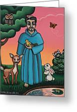 St. Francis Animal Saint Greeting Card by Victoria De Almeida