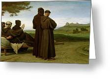 Saint Francis Of Assisi, While Being Carried To His Final Resting Place At Saint-marie-des-anges Greeting Card