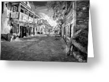St George Street St Augustine Florida Painted Bw Greeting Card