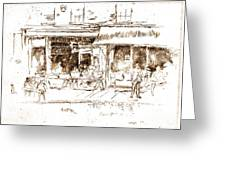 St. James Place Nut Shop 1850 Greeting Card