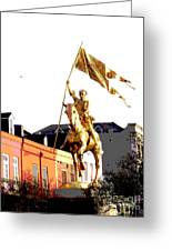 St Joan Of Arc Statue At Dawn Greeting Card